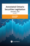 Annotated Ontario Securities Legislation, 55th Edition, 2022 (2 Volumes) cover