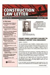 Construction Law Letter - Newsletter + PDF cover