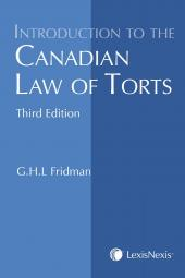 Introduction to the Canadian Law of Torts, 3rd Edition cover