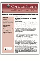 Corporate Securities and Finance Law Report - Newsletter + PDF cover