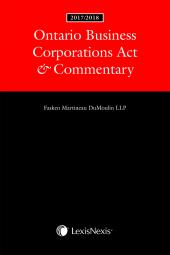 Ontario Business Corporations Act & Commentary, 2017/2018 Edition cover