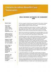 Ontario Accident Benefit Case Summaries – Newsletter cover