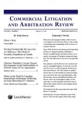 Commercial Litigation and Arbitration Review - Newsletter cover