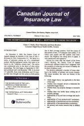 Canadian Journal of Insurance Law - A Review of Recent and Important Legal Developments - Newsletter cover