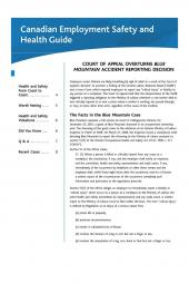 Canadian Employment Safety and Health Guide – Newsletter cover