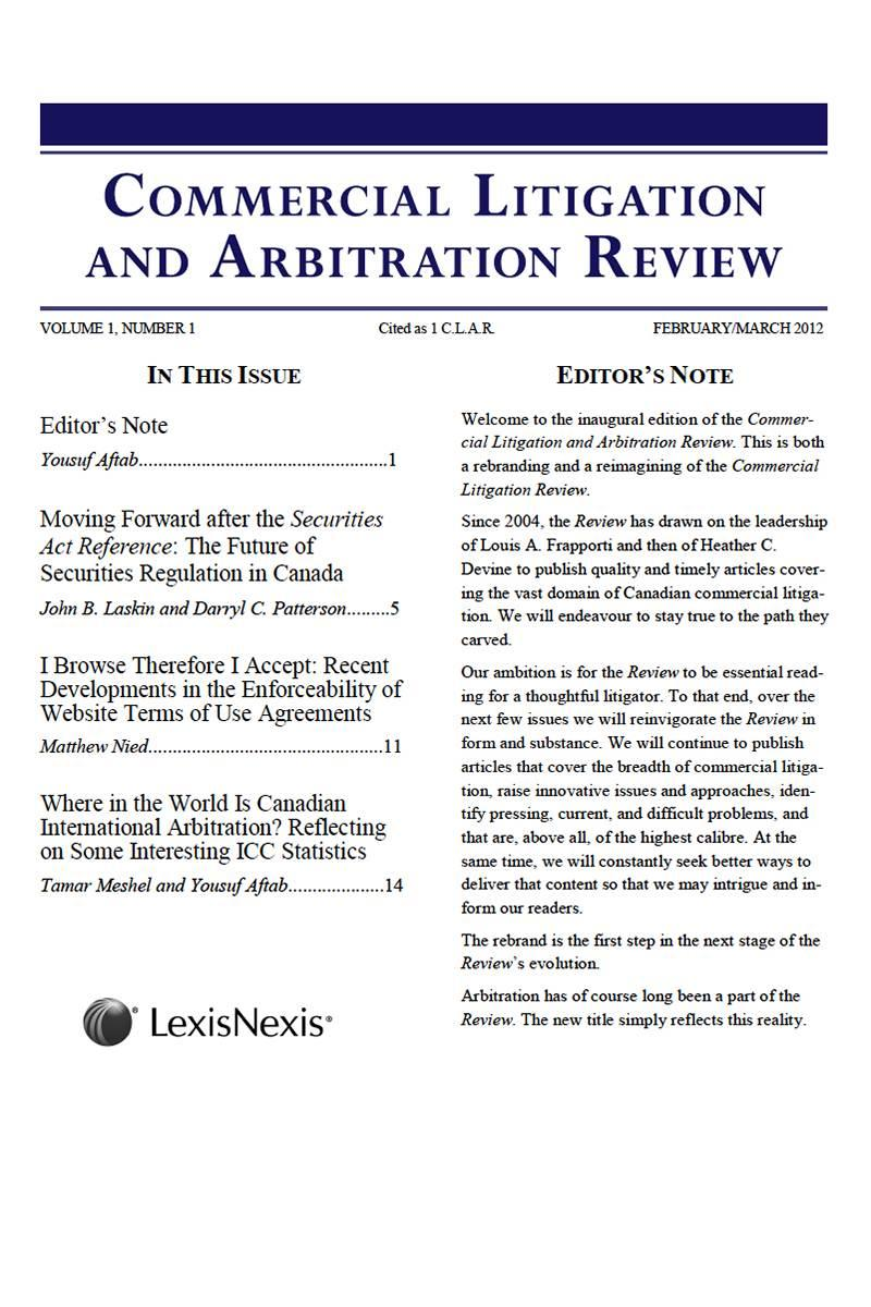 Commercial Litigation and Arbitration Review - PDF