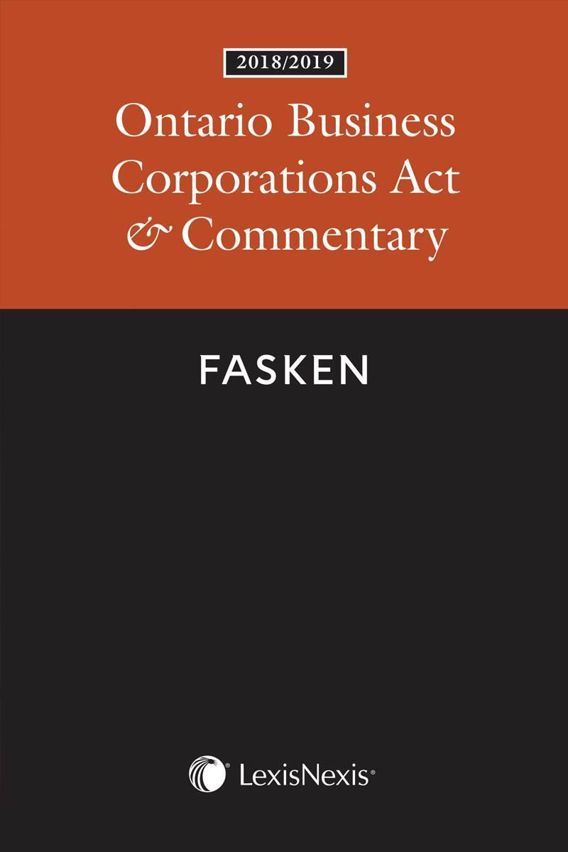 Ontario Business Corporations Act & Commentary, 2018/2019 Edition