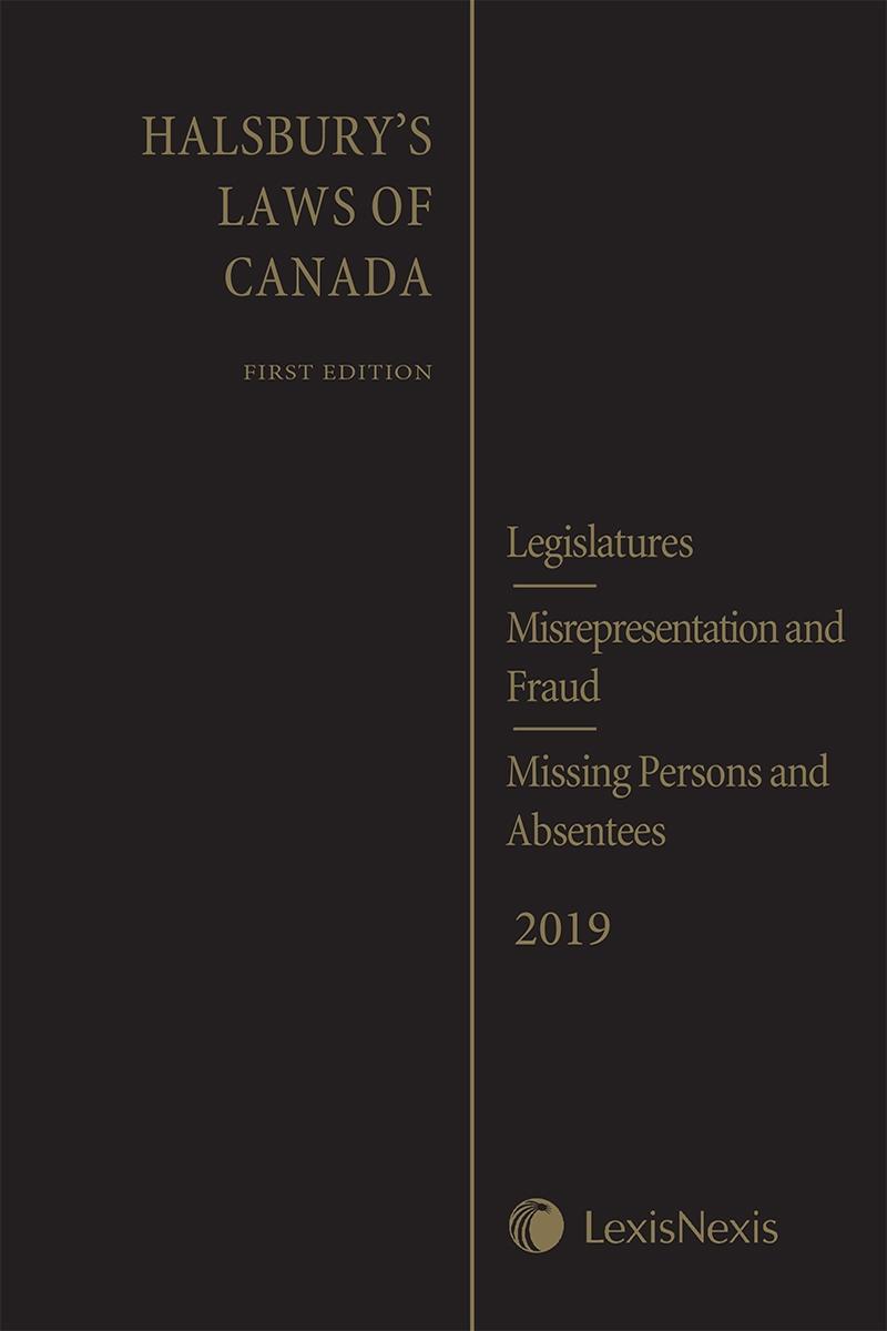 Halsbury's Laws of Canada – Legislatures (2019 Reissue