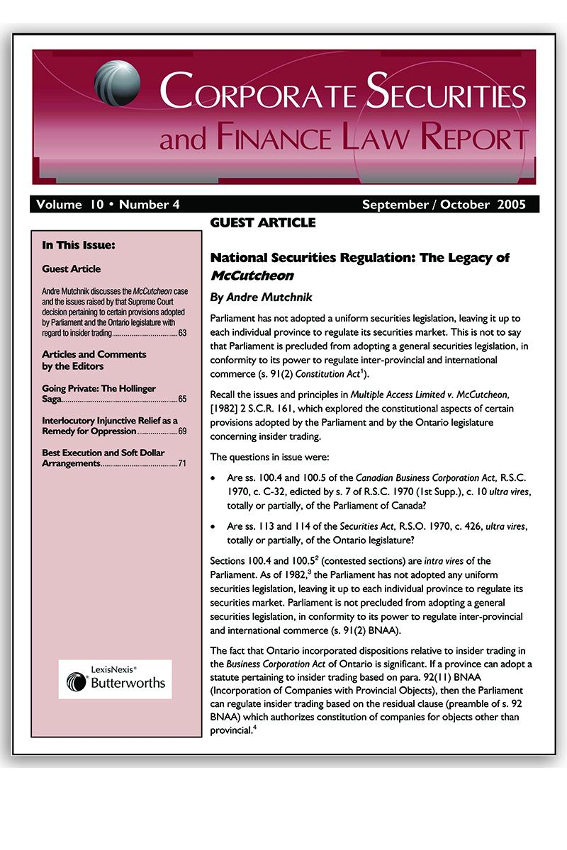 Corporate Securities and Finance Law Report - Newsletter + PDF ...